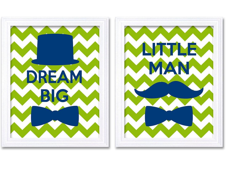 Navy Lime Nursery Art Little Man Nursery Print Set of 2 Tophat Bowtie Mustache Baby Boy Wall Decor C