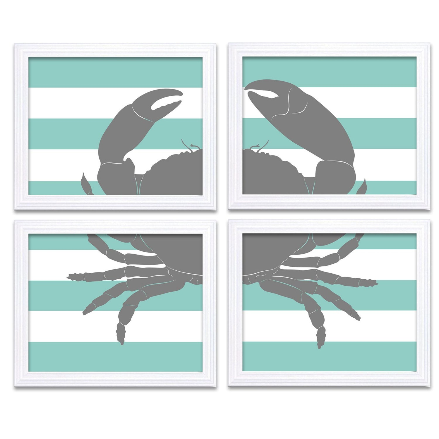 Blue Teal Crab Nautical Nursery Art Set of 4 Prints Stripes Child Art Kids Room Wall Decor Baby Boy