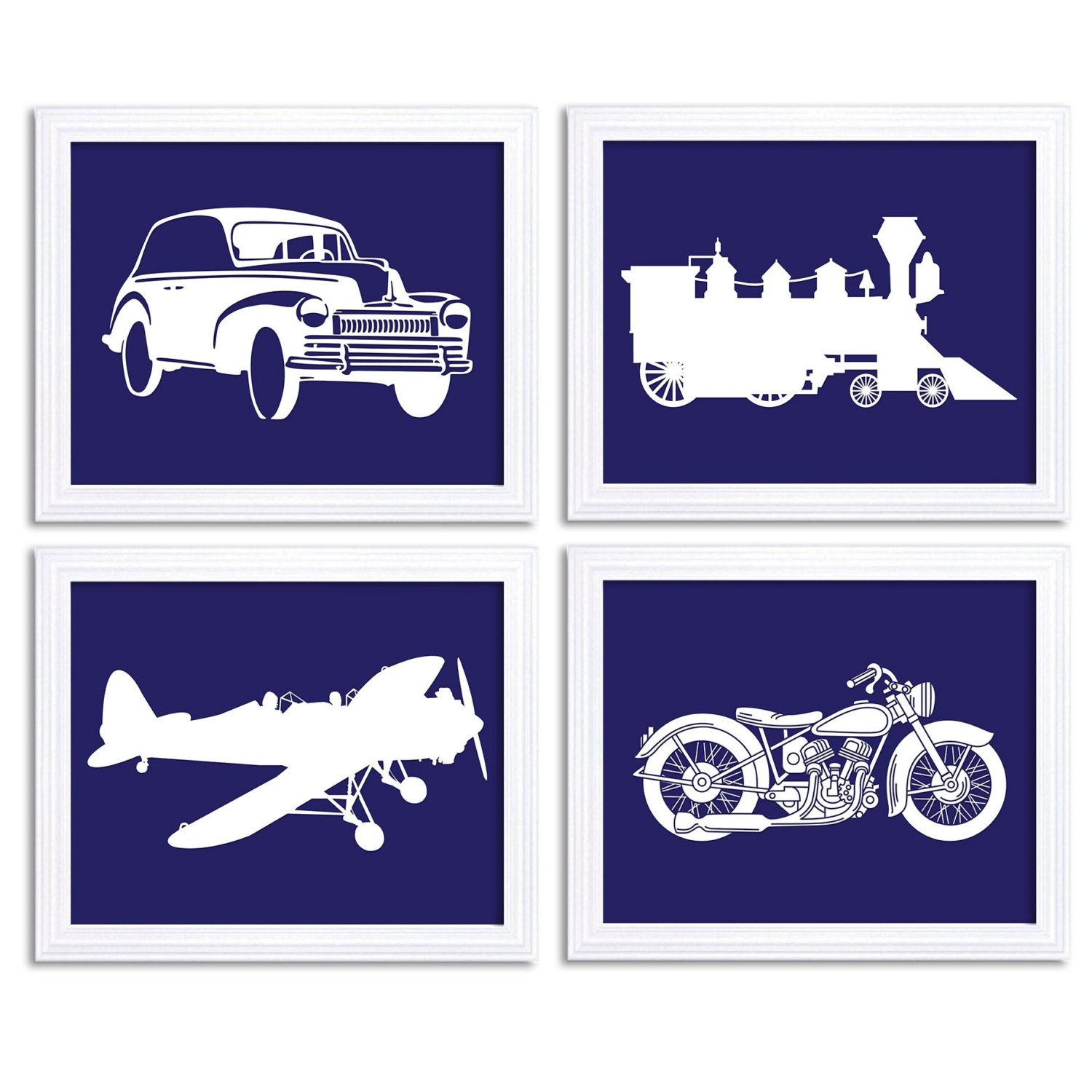 Navy Blue Old Cars Classic Antique Vintage Car Train Airplane Plane Motorcycle Set of 4 Prints Boys