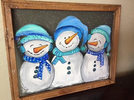 Items similar to snowman in blue hand painting original for How to paint snowmen