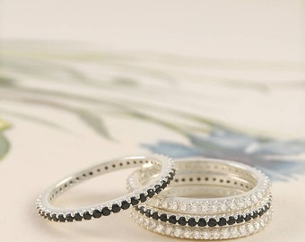 Sterling Silver Eternity Ring - Black Spinel And WhiteTopaz Stacking Ring