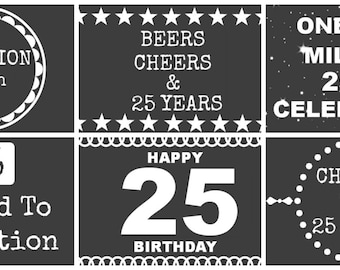 25th Birthday Beer Labels - Chalk Board Style