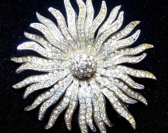 Vintage Flower Brooch Sun Silver Metal Clear Crystals Rhinestones