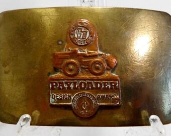 Vintage Belt Buckle Brass Payloader Design Award Logo Emblem Mens Accessories