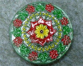 Czech Glass Button 32mm - hand painted - green, yellow, red (B32194)