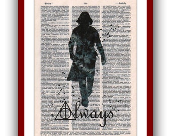 Severus Snape Poster Always  Deathly Hallows Harry Poster 44 Art Print 8x10  Wall Decor Book Page Art  Upcycled Dictionary