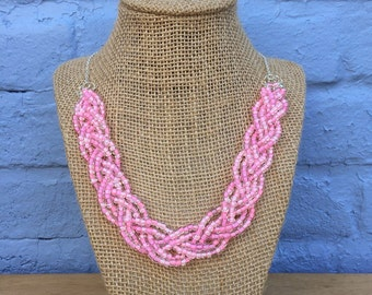 Pink Statement Necklace, Pink Necklace, Light Pink Necklace, Baby Pink Necklace, Braided Necklace, Light Pink Statement Necklace