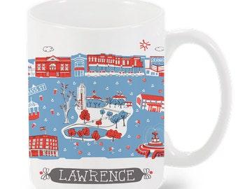 Lawrence Mug-City Mug-Coffee-Tea-KU mug-KU Jayhawks-Kitchen-Gray-Red-Kitchen-Foodie-Cooking-Baking-Personalized-Custom