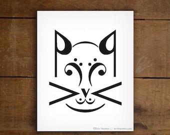 Music note art print / CAT music art print - 5x7, 8x10, 11x14 Fine art print / Black and white art / Gifts for musicians / Music wall art