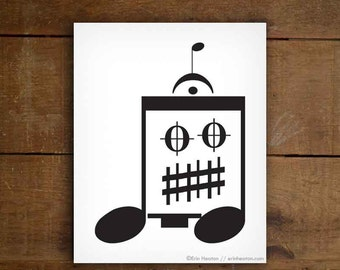 Robot art / Music note art / EIGHTH NOTE ROBOT - 5x7, 8x10, 11x14 art print / Black and white art / Music gifts for men / Music room decor