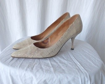 YSL White Snakeskin Pumps Size 7