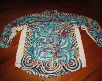 90s Avirex Koi Fish Dragon Cherry Blossom Button Front Shirt