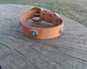 CUSTOM ORDER - Leather Dog Collar with Conchos and Turquoise-Colored Rivets