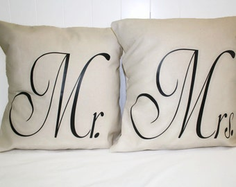 Decorative Canvas Mr. & Mrs. Throw Pillow 12x16, 16x16 Pillow Cover set