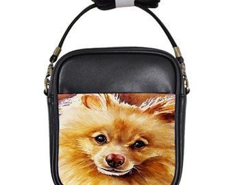 Pomeranian Genuine Leather Sling Purse!