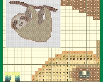Happy Sloth Cross-Stitch Pattern by Curious Rabbit