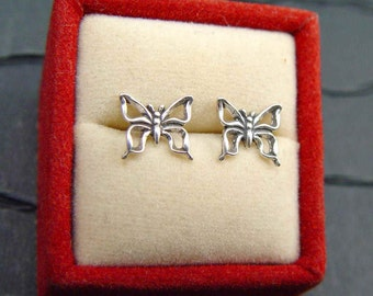 BUTTERFLY Post Earrings STUDS STERLING Silver