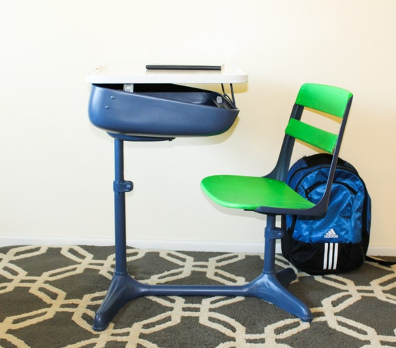 School Desk Chair Combo Blue And Green 1950 39 S
