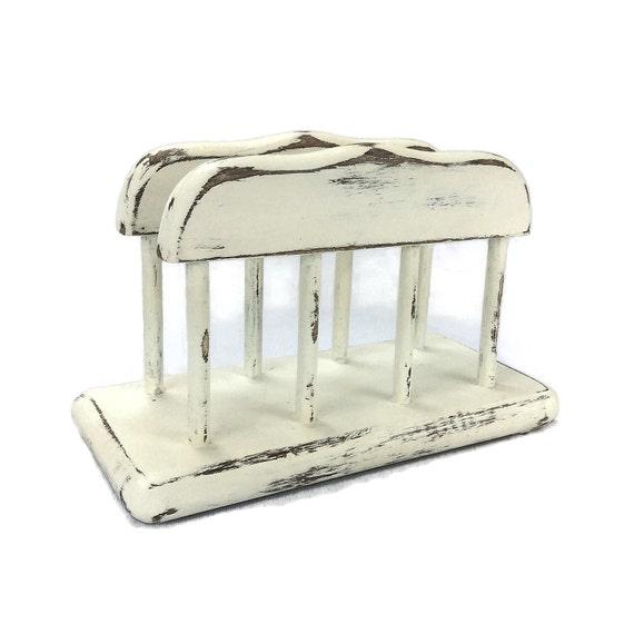 White napkin holder beach cottage kitchen wooden napkin - Coastal napkin holder ...