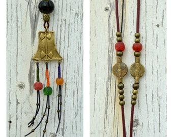 African vintage necklace, long tribal necklace, ethnic multicolored pendant, jewelry boho chic gypsy, hippie necklace, African beads, summer