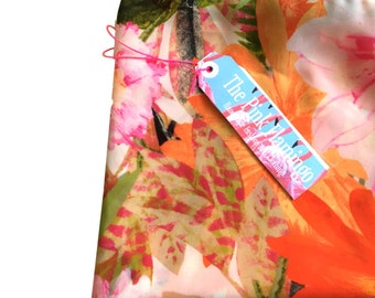Orange and Pink Floral Print Chiffon Scarf