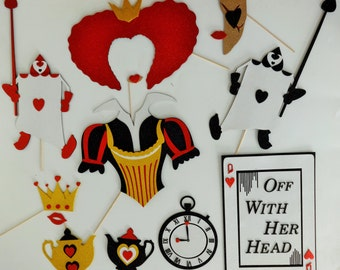 Alice in Wondeland Photo booth props Queen of Hearts Halloween