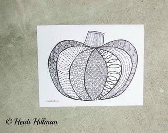 Adult Coloring Page// Pumpkin Doodles