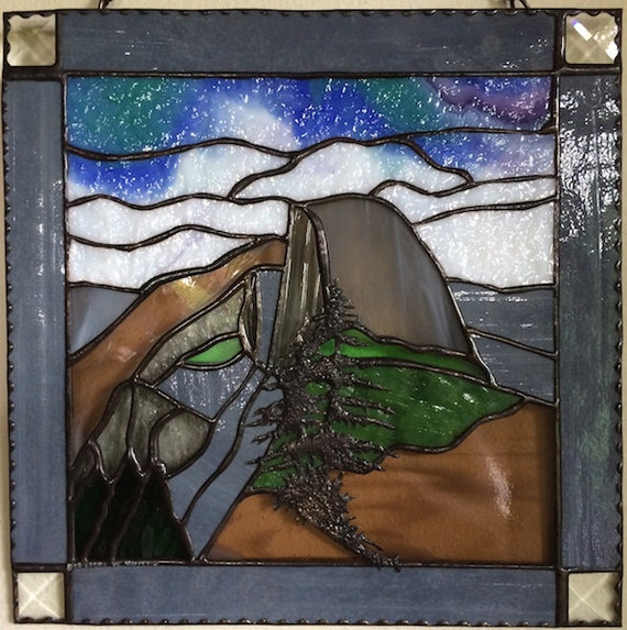Half Dome Sunset Sunrise Yosemite National Park Inspirational Stained Glass Panel Made in Hawaii Deesigns by Harris Free Gift Wrap