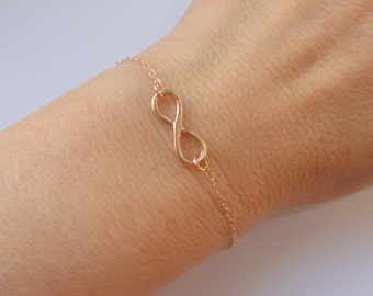 Rose gold Infinity bracelet, Infinity bracelet, Rose gold bracelet, Rose gold jewelry, Infinity jewelry, Bridesmaid gift, Gifts