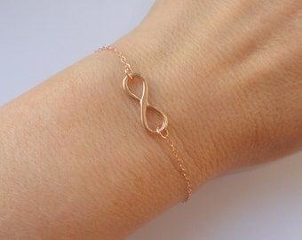 Rose gold Infinity bracelet, Infinity bracelet, Rose gold bracelet, Rose gold jewelry, Infinity jewelry, Bridesmaid gift, Gifts
