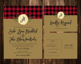 Printable Red Buffalo Plaid Wedding Invitations; Kraft; Printable OR set of 25