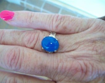 Blue Agate Ring in Sterling Silver - Size 7