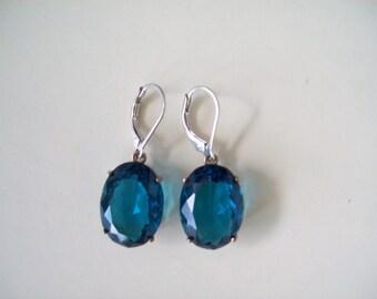 Sterling Silver Earrings -Dark Aquamarine Blue