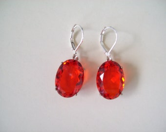 Sterling Silver Earrings - Fire Opal Orange
