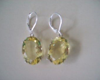 Sterling Silver Earrings - Lemon Quartz Yellow