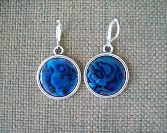 Paua Shell Earrings - Blue - Sterling Wires