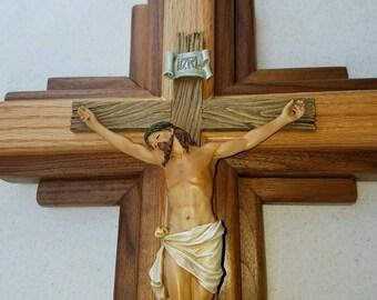 "Crucifix Wall - American Walnut and Oak Wood - 24"" inch Wall Hanging"