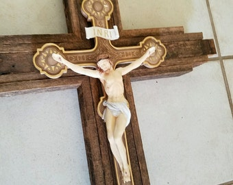 """Rustic Wood with Ornate Crucifix - Ivory appearance - 33"""" inch Wall Hanging"""
