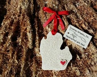 I LOVE MICHIGAN Sand Ornament/Favor
