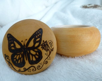 Butterfly with Vines Woodburned Box (Pyrography)