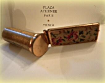 Lipstick Holder LCS France Petit Point Scalloped Mirror LOVELY Vintage Treasure!