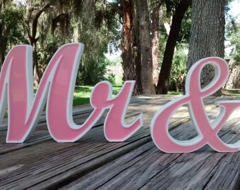 Mr and Mrs  Wedding Signs, Wedding Table Decorations, Custom Wedding Sign,  Wedding Photo Props, Pink Weddings,Head Table