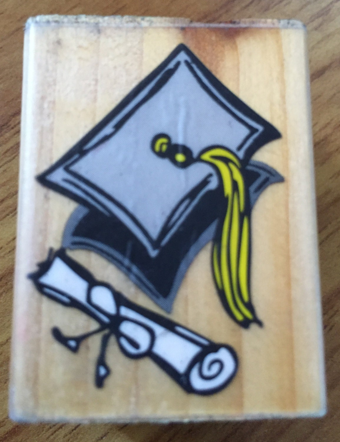 Graduation Cap And Diploma Rubber Stamp Graduate Rubber