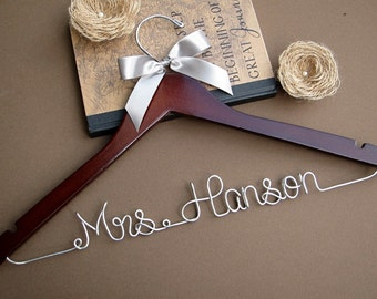 SALE Personalized Bridal Hanger, Wedding Hanger, Bridesmaid Gift, Wedding Gift, Graduation Gift with Ribbon Color of your choice