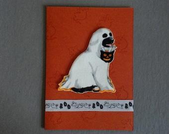 Handmade Fabric Ghost Lab Dog Halloween Card