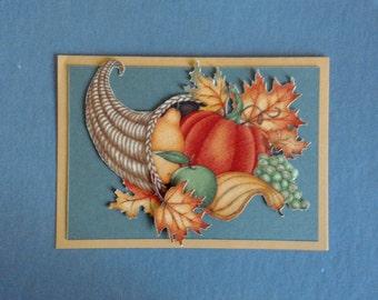 Handmade Fabric Cornucopia Thanksgiving Day Card