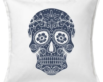 Denim Sugar Skull  Feather Throw Pillow