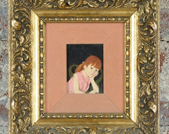 Portrait of Girl with Red Hair -1950s Oil Painting
