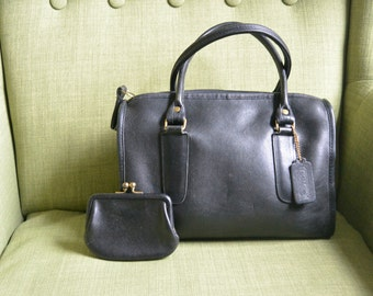 Coach NYC Madison Satchel in Black with Coin Purse