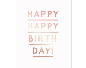 Gold greeting gift card» happy happy birthday»